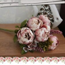 New Artificial Silk Peony Flowers Home Wedding Party Bridal Bouquet Decor US