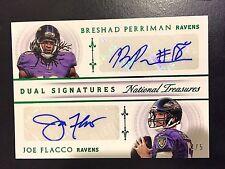 2015 National Treasures B Perriman / Joe Flacco Green Dual Signatures 2/5 Ravens