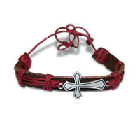 Orthodox Religious Brown Leather Bracelet with Metal Cross Handmade Holy Land