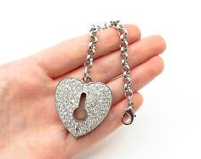 925 Sterling Silver - Cubic Zirconia Love Heart Lock Designed Key Chain - T1973