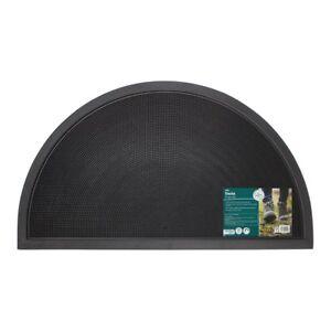 JVL Sesia Black Rubber Stud Half Moon Outdoor Scraper Door Mat, 40 x 70cm