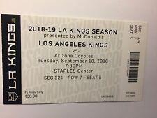 LOS ANGELES KINGS VS ARIZONA COYOTES SEPTEMBER 18, 2018 TICKET STUB