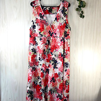 Eddie Bauer Sleeveless Floral Dress Women's Size XL 100% Cotton