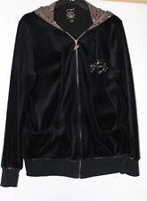 Pineapple Black Hooded Velour Feel Jacket Size 18