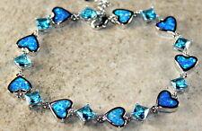 Silver Elegant Blue Fire Opal & Sky Blue Topaz Heart Bracelet