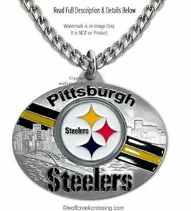 LRG PITTSBURGH STEELERS NECKLACE STAINLESS STEEL CHAIN NFL FOOTBALL FREE SHIP 1