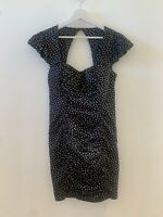BLACK POLKA DOT DRESS WHITE 10 SUMMER HOLIDAY IBIZA MARBS PRETTY GLAM SMART FIT