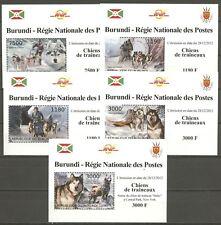 Hunde, Dogs, Huskies - Burundi - 2883-2887 5 Bl. ** MNH 2012