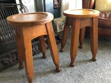 Pair Old Vintage Rustic Solid Oak Country Farmhouse Kitchen Dining Stools Stool