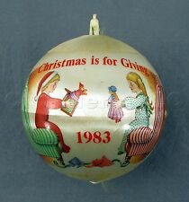 "1983 Hummelwerk Satin Glass Christmas Is For Giving 3 1/2"" Tree Ball Ornament"
