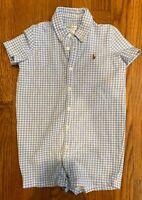 Ralph Lauren Polo Baby Boy 24 M Gingham Checkered Romper Short Sleeve