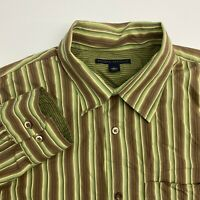 Banana Republic Button Up Shirt Mens Large Green Brown Stripe Long Sleeve Casual