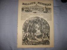 ANTIQUE 1856 VICTORIAN ART IDYLLIC LANDSCAPE FISHING WOMENS FASHION PRINT NR