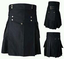 Men's Brand New Black Cotton Utility Kilt, Good Quality 100% Cotton