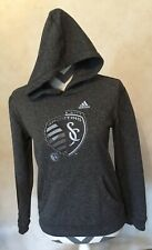 Medium Adidas Women's Dark Gray Kansas City Sporting Hoodie Pocket Long Sleeve