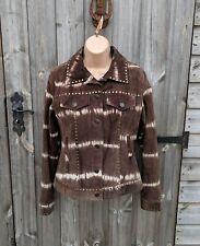 CCDK UK 12 Dark Brown White Stripe Studded Western Suede Jacket Women's
