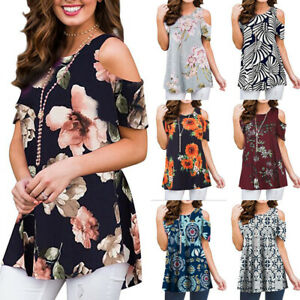 Womens Floral Cold Shoulder T-shirt Short Sleeve Blouse Summer Casual Tops Tunic