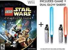 Lego Star Wars The Complete Saga +  Dual Glow Sabers Wii - Both Sealed NEW!