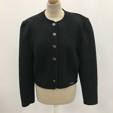 GIESSWEIN Black Wool Collarless Blazer Jacket Smart Formal Work Size UK 14 31164