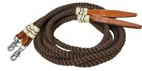 Showman 8' BROWN Braided & Rolled Nylon Split Reins W/Rawhide & Leather Poppers!