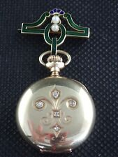 14k Gold and Diamond Hunter Pocket Watch Case w/ 14k Gold Enamel and Pearl Pin