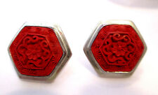 Carved Red Cinnabar Gemstone Earrings By Sajen Sterling Silver asain flare