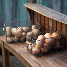 RECTANGULAR WIRE BIN PRODUCE BASKETS Set of 2 by Park Hill Collection DM1109