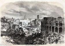 Roma: Panorama dal Colosseo. Grande Veduta. Stato Pontificio. Stampa Antica.1861