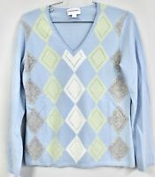 Charter Club 2 Ply 100% Cashmere Sweater Women's M Blue Green Gray Argyle NWOT