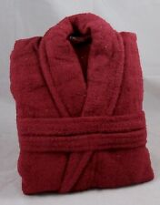 Burgundy Terry Towelling Bath Robe Dressing Gown 100% Cotton Medium Unisex