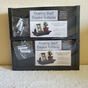 (2) Floating Shelves Wall Display / Black Faux Wood / Up To 5lbs Weight Limit