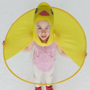 Girl Boy Cartoon Rain Coat Duck Kids Children Umbrella Hat Hooded Poncho B39