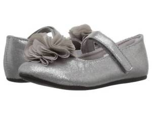 Baby Deer Silver Sparkle Shimmer Mary Jane Shoes w/Flower Baby Toddler 3 4 5 6 7
