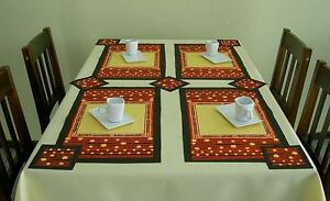 SET OF TABLE MAT + 8 OF TABLE CUP MAT - FIVE DIFFERENT COULOURS