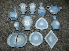 Collection 12 Wedgwood Blue Jasperware Pieces Made in England Vases Basket Urns