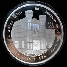 2008 CANADA $50 .9999 PURE SILVER PROOF - 100th Anniv. of Royal Canadian Mint