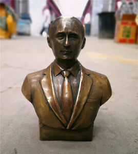Russia president Vladimir Vladimirovich Putin Bust Pure Bronze Statue Sculpture