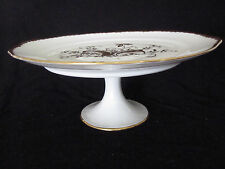 Royal Limoges France Hand Painted Pedestal Cake Stand China Plate White w/ Gold