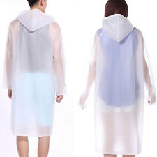 Women Girls Transparent PVC Vinyl Raincoat Runway Style Waterproof Rain Coat