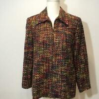 Alfred Dunner Multi-color Tweed Zippered Jacket Blazer Size 8