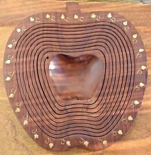 Apple shape wooden fruit tray - solid wood tray. Handmade - Approx 18""