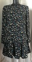 Nwt! Misses Philosophy Dress Baby Doll Preppy Floral Black, Teal, Polyester