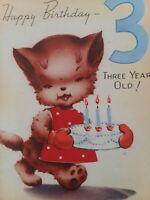 1940s Vtg KITTEN Cat w BIRTHDAY CAKE 3rd BIRTHDAY GREETING CARD