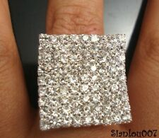 Silver Tone Diamonte / Diamante Large Square Shape Ring - NEW!!
