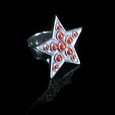 SOLID Sterling Silver Red Coral Star Light Ring s 7 1/2