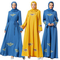 Muslim Women Embroidery Long Maxi Dress Loose Abaya Islamic Jilbab Party Dresses