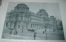 1892 Antique Print LOUVRE BUILDINGS PARIS FRANCE Picture Gallery Horse & Buggy