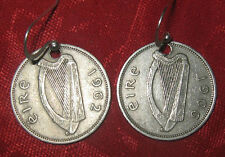 AUTHENTIC VINTAGE SILVER TONE IRISH IRELAND CELTIC HARP/ RABBIT COIN EARRINGS