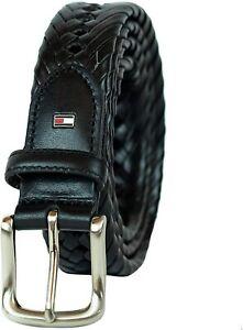 Tommy Hilfiger Men's 32MM Wide Braided Belt Black
