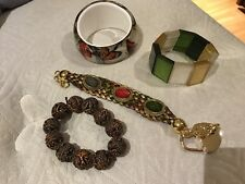 Lot Of 4 Bracelets Butterfly Bangle Brown Beads Green Stone